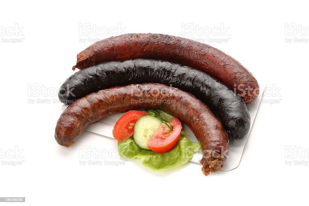 Grilled black pudding, sausage, liverwurst stock photo