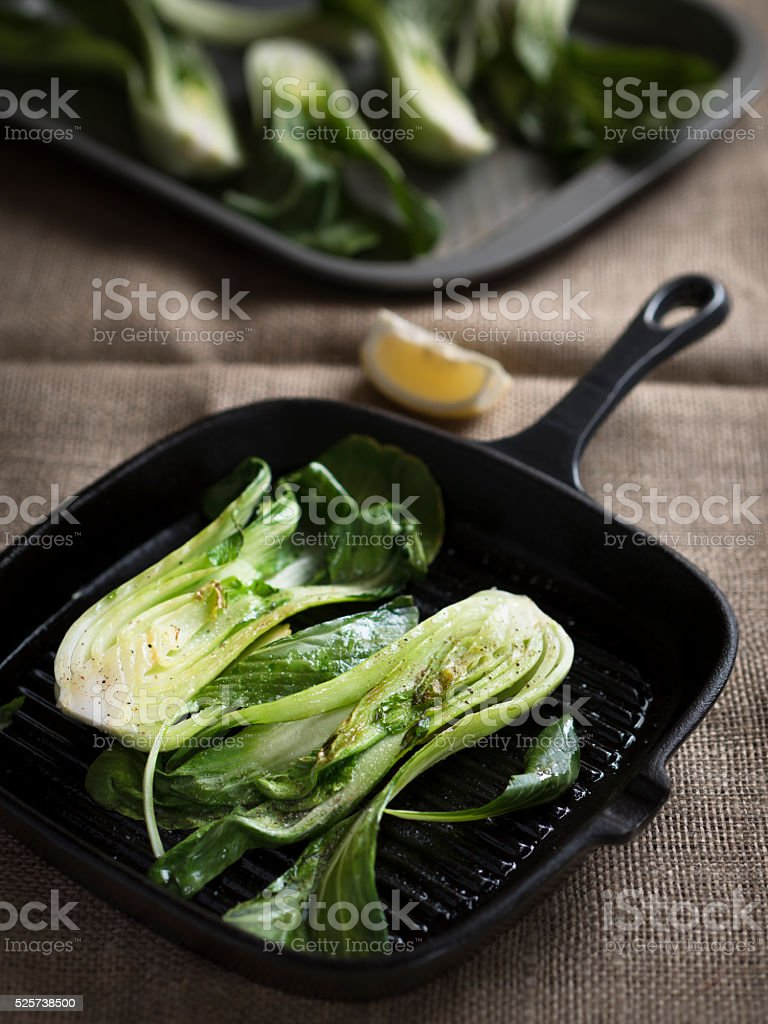 grilled bok choy stock photo