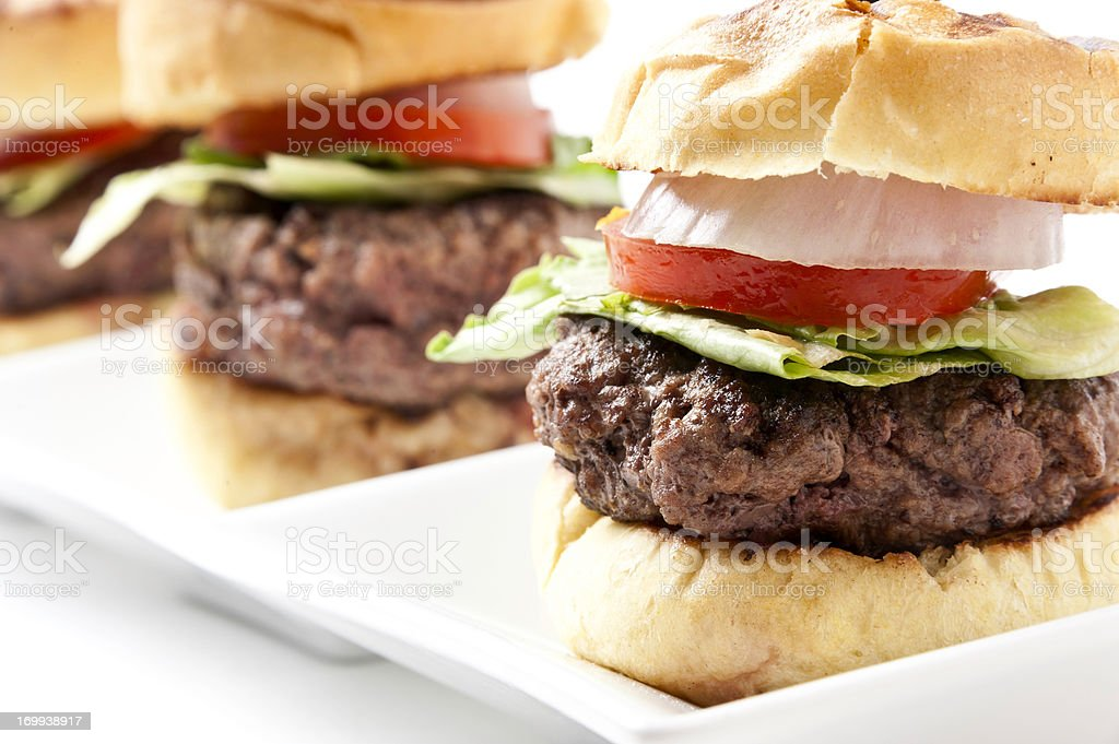 Grilled Burger Mini burgers stock photo