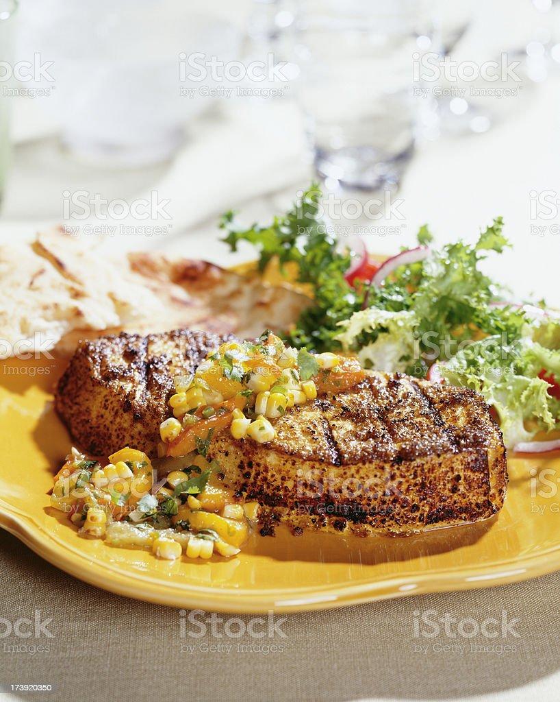 Grilled cajun fish royalty-free stock photo