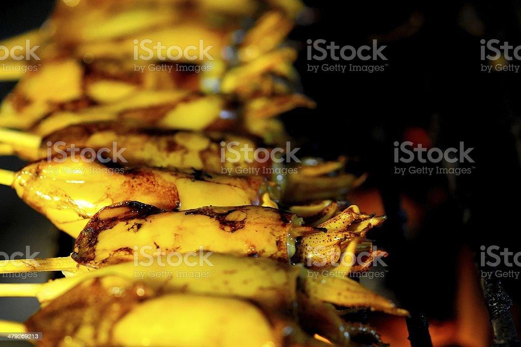 Grilled calamari on thai food market stock photo