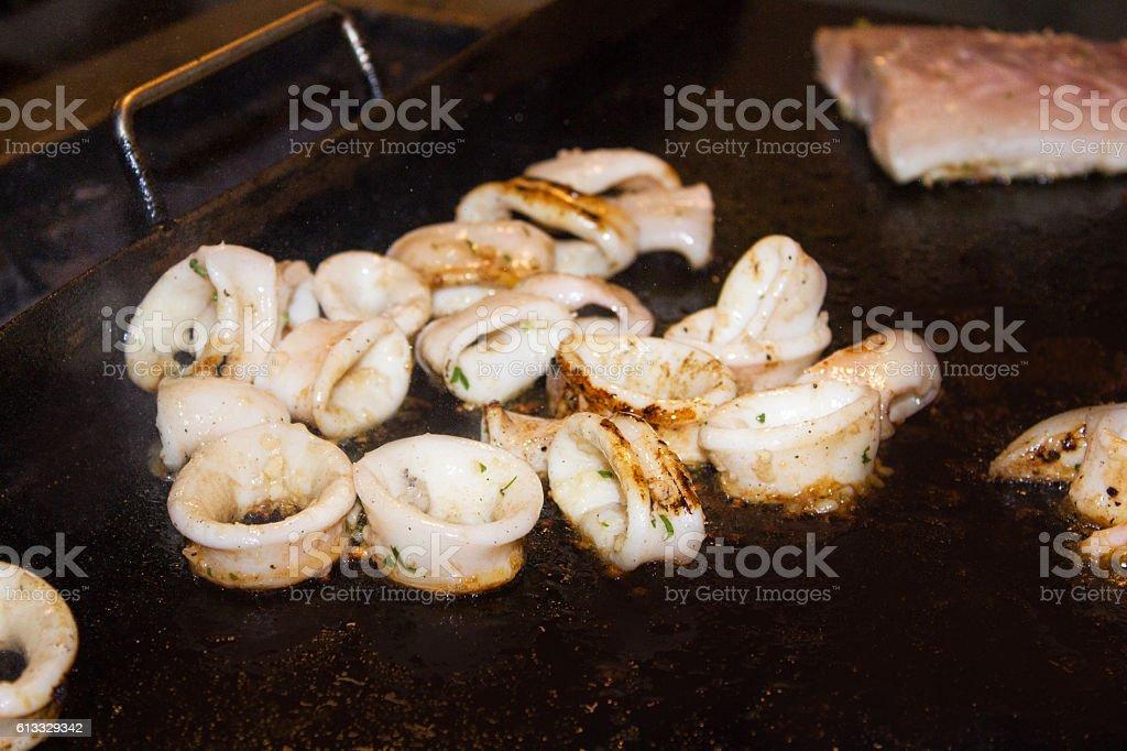 Grilled calamari stock photo
