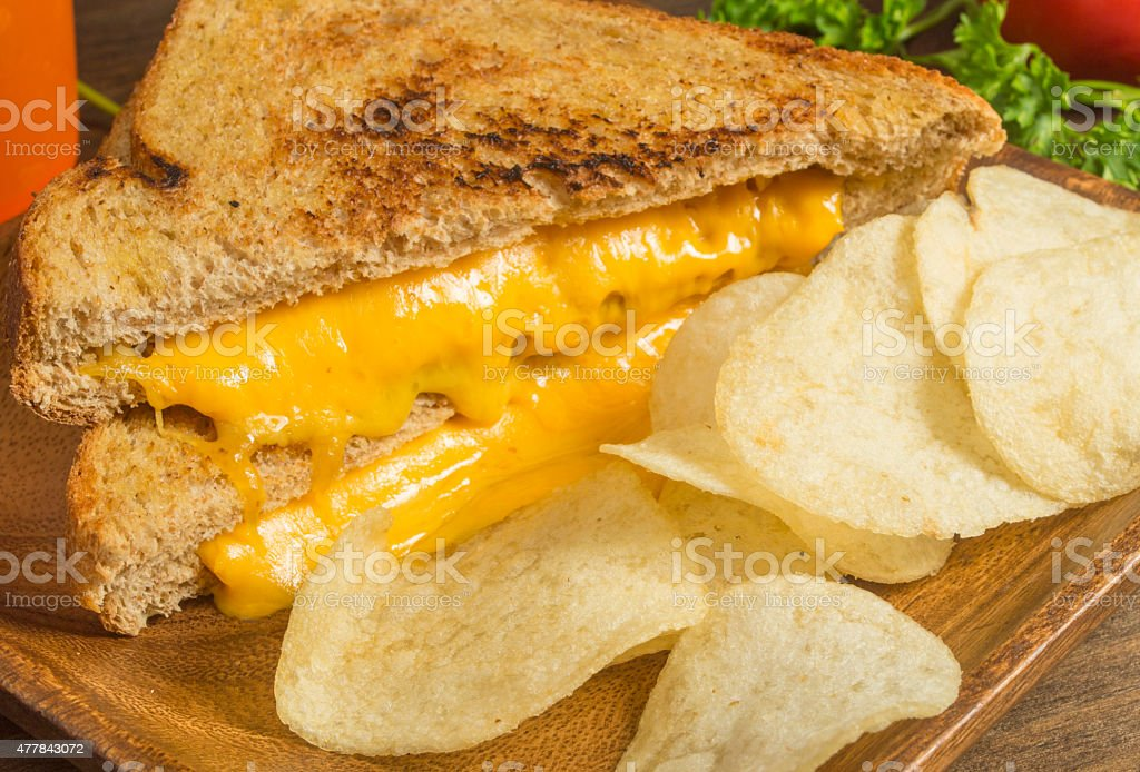 grilled chedder cheese sandwich stock photo