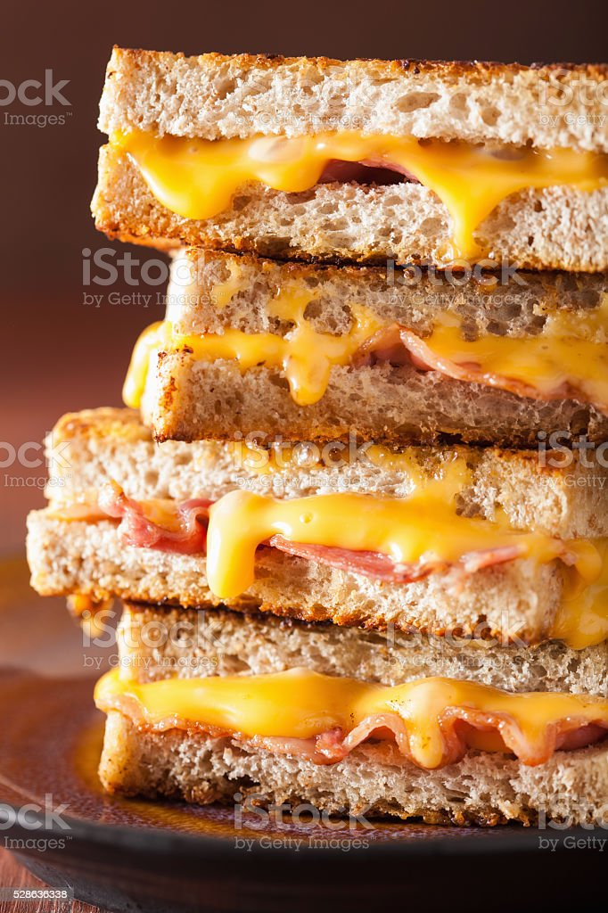grilled cheese and bacon sandwich stock photo
