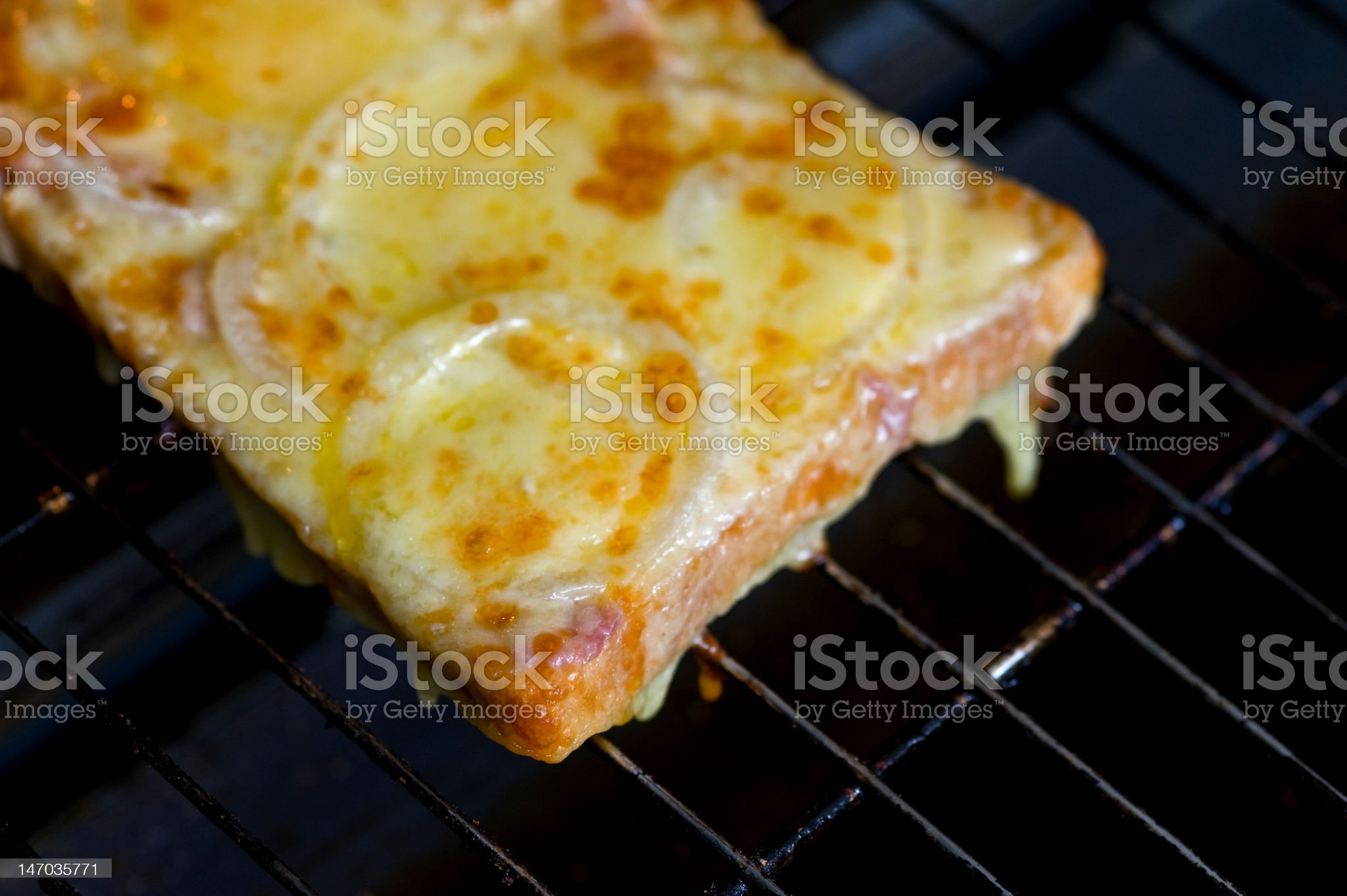 Grilled Cheese and Onion Melt on bread royalty-free stock photo