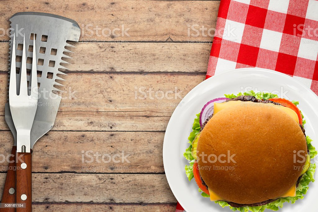 Grilled Cheese Burger on Rustic Wood Background stock photo