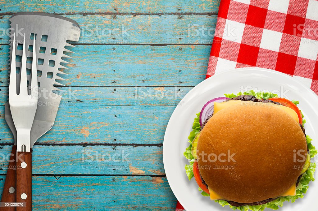 Grilled Cheese Burger Picnic stock photo