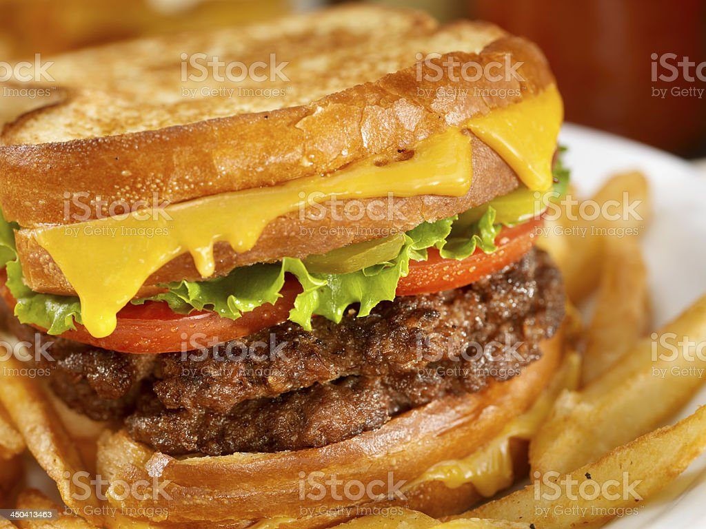 Grilled Cheese Hamburger Sandwich royalty-free stock photo