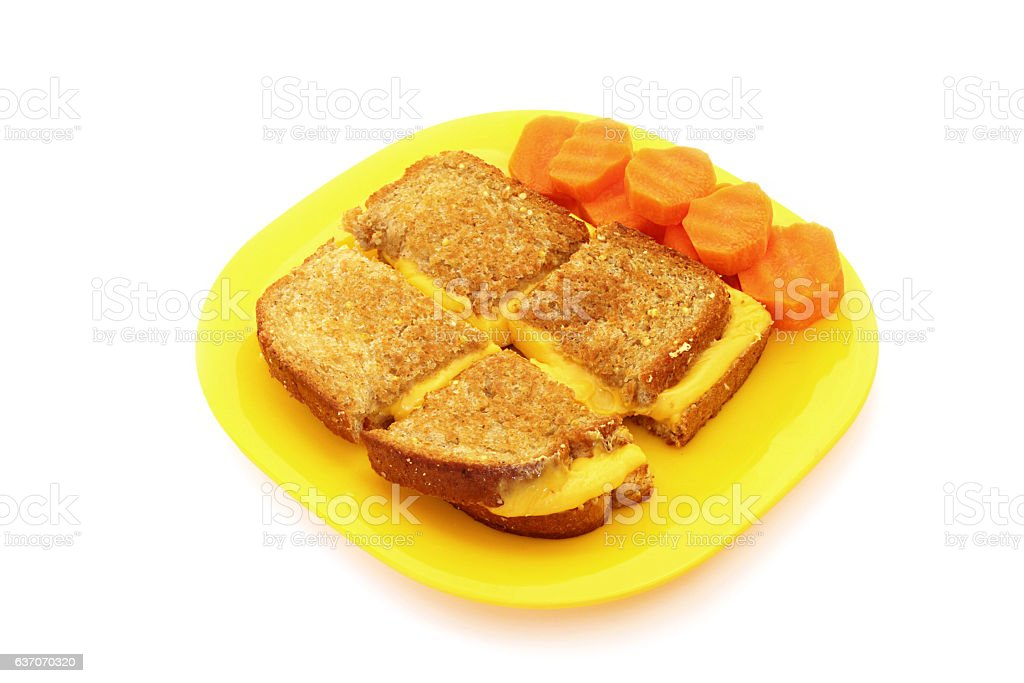 Grilled Cheese Sandwich and Carrots stock photo