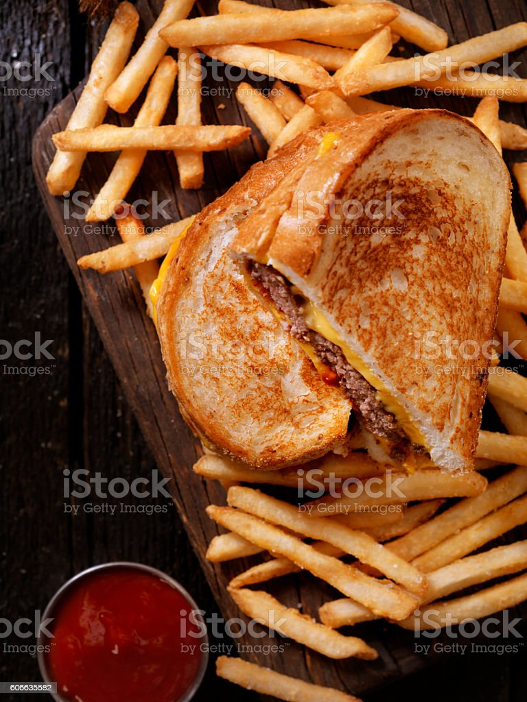 Grilled Cheese Sandwich Burger stock photo
