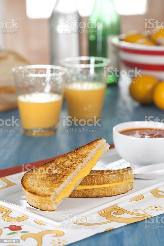 Grilled Cheese Sandwich on Sourdough Bread royalty-free stock photo