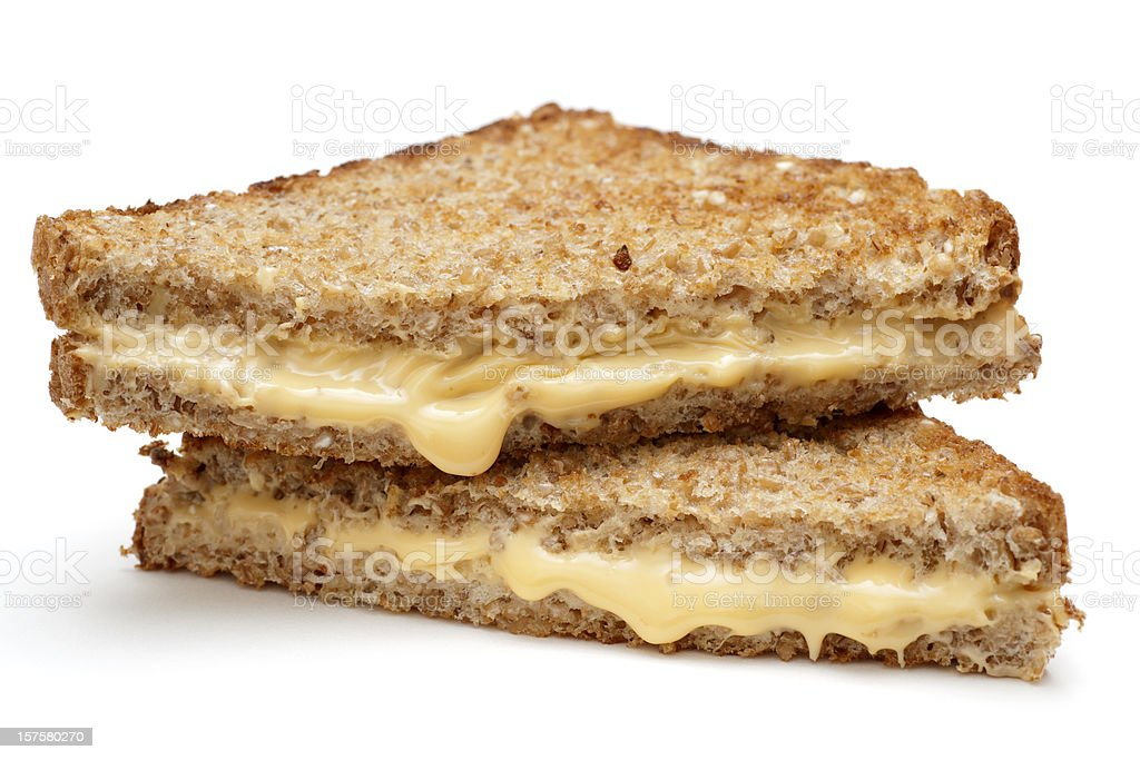 grilled cheese sandwich on whole wheat bread stock photo