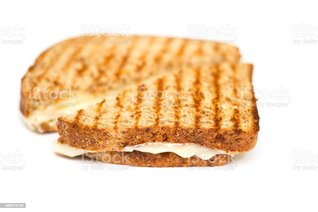 Grilled Cheese Sandwich, Whole Grain Bread, Grill Marks, White Background stock photo