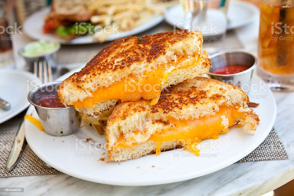 Grilled cheese sandwich with ketchup stock photo