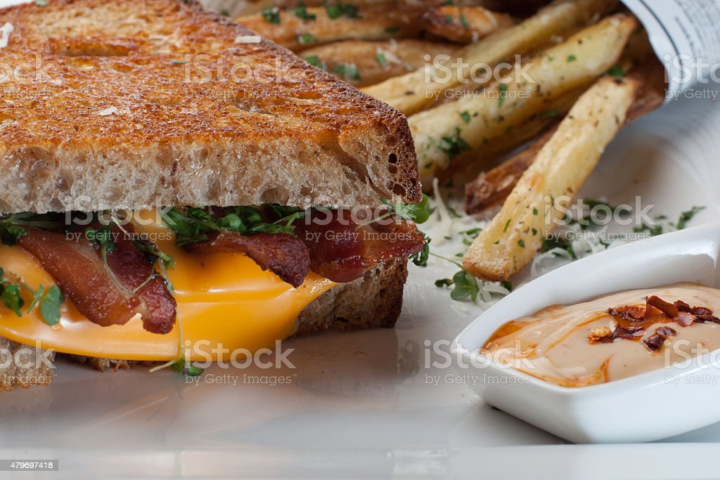 Grilled cheese sandwich with oven baked chips stock photo