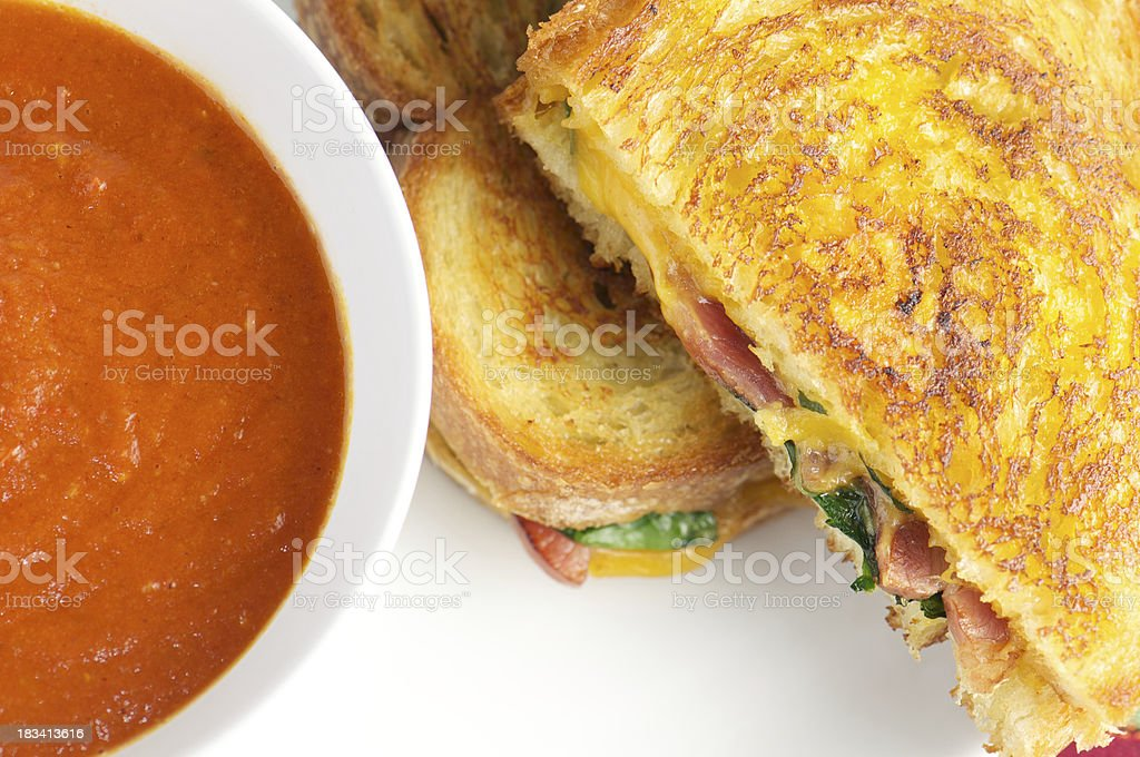 Grilled Cheese Sandwich with Tomato Soup from Above royalty-free stock photo
