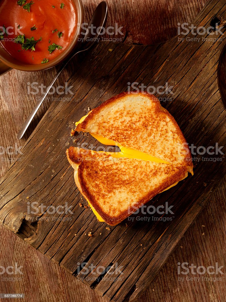 Grilled Cheese Sandwich with Tomato Soup stock photo