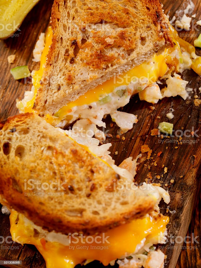 Grilled Cheese Seafood Salad Sandwich stock photo