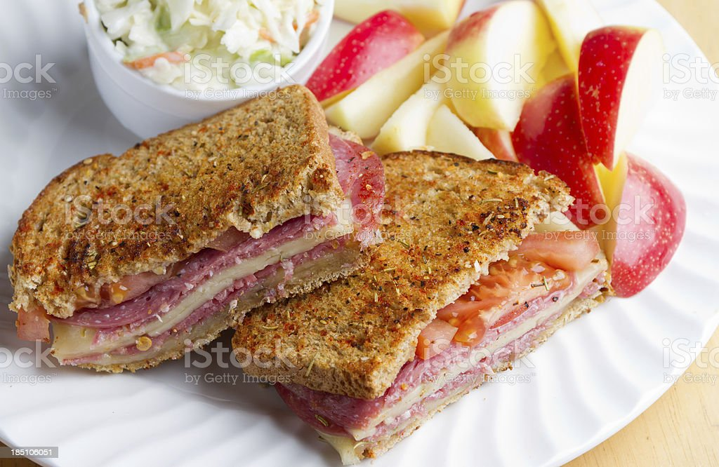 Grilled Cheese with Salami royalty-free stock photo