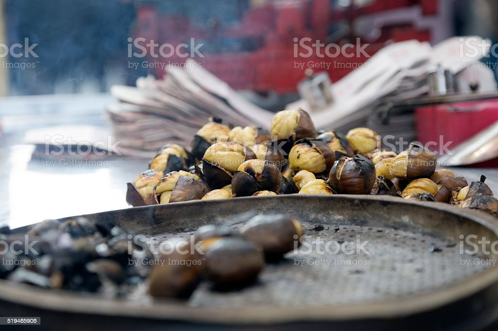 Grilled Chestnuts Car in Taksim Square, Istanbul Turkey stock photo