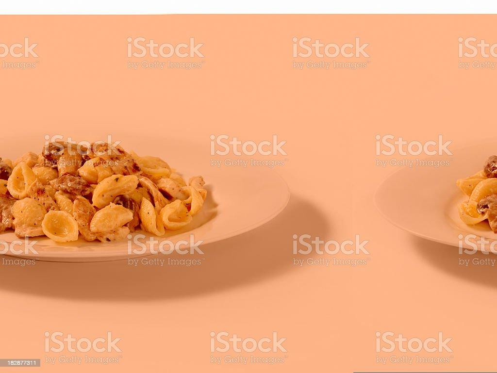 Grilled Chicken & Mushroom Shell Pasta royalty-free stock photo