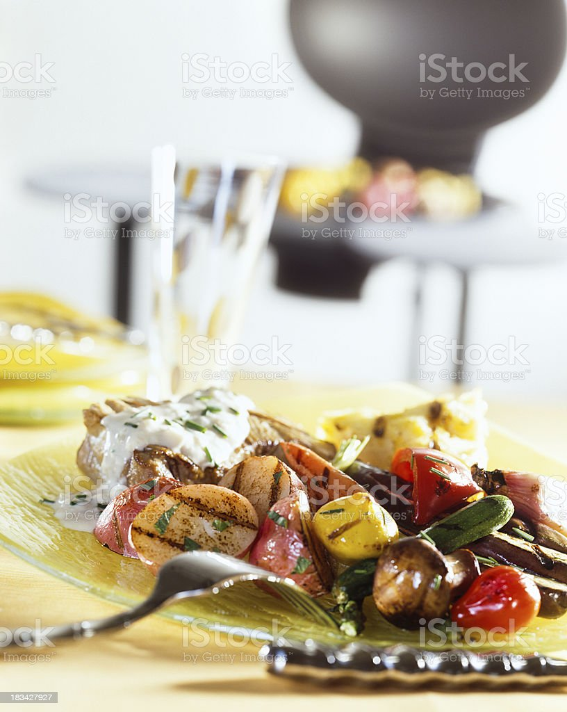 Grilled chicken and BBQ royalty-free stock photo