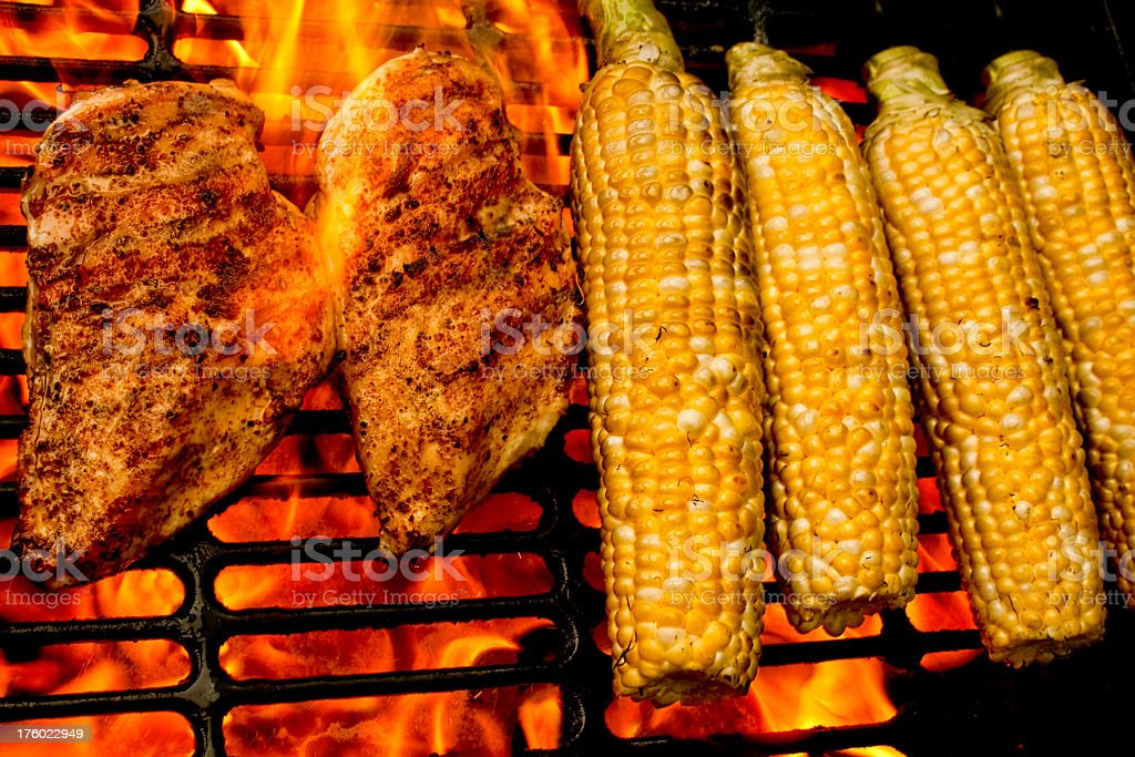 Grilled Chicken and Corn royalty-free stock photo