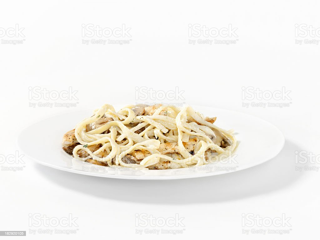 Grilled Chicken and Mushrooms Fettucini royalty-free stock photo