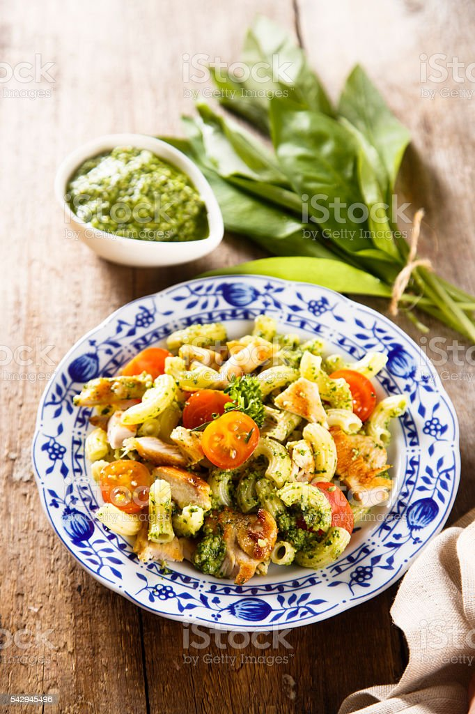 Grilled chicken and pasta salad stock photo
