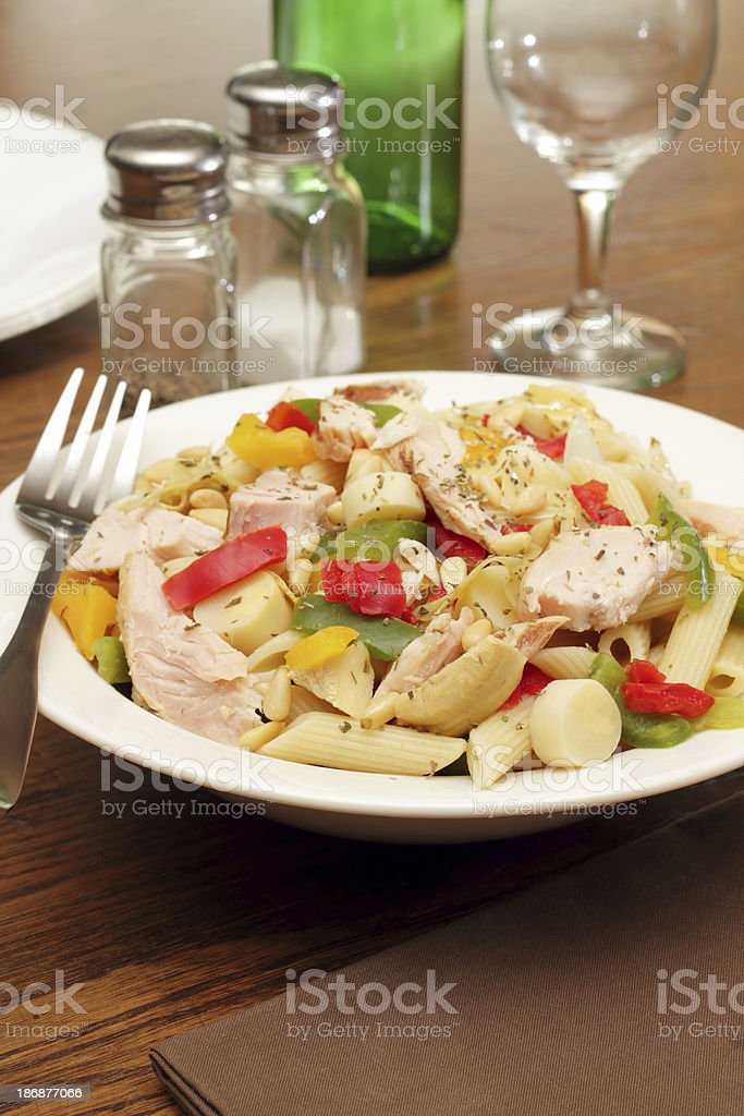 Grilled Chicken and Penne Salad stock photo