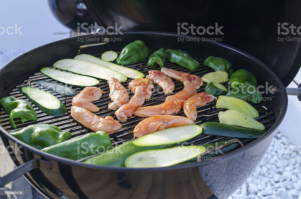 BBQ grilled chicken and peppers royalty-free stock photo