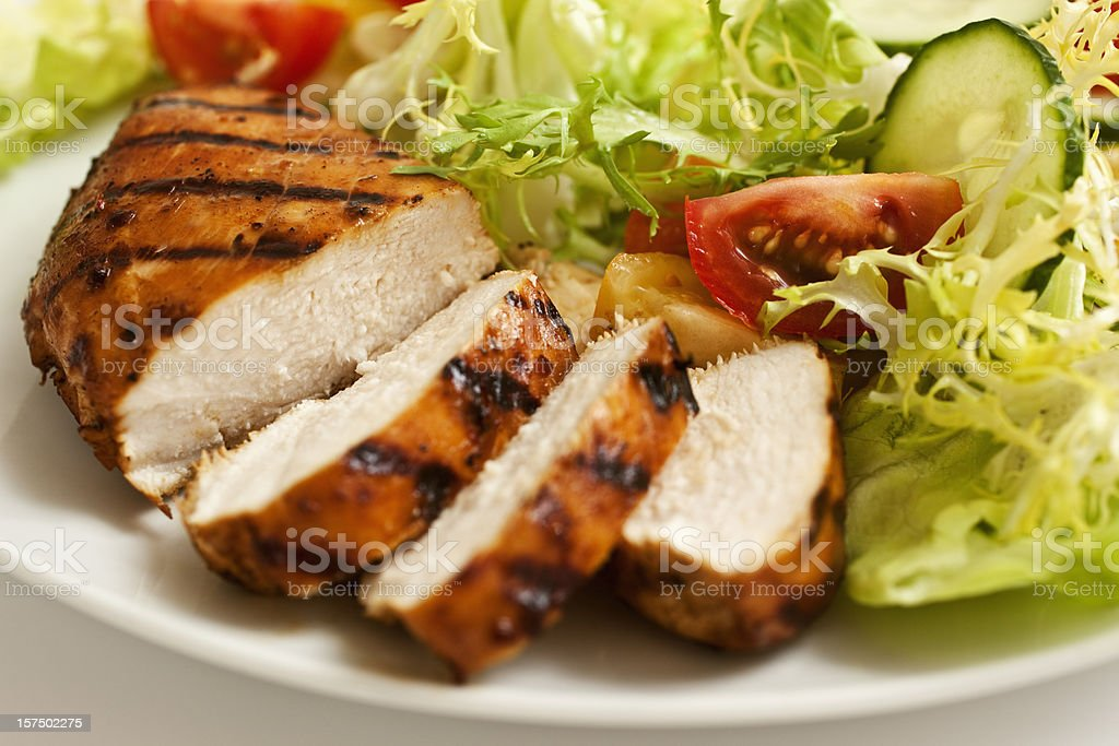 Grilled Chicken and salad. stock photo