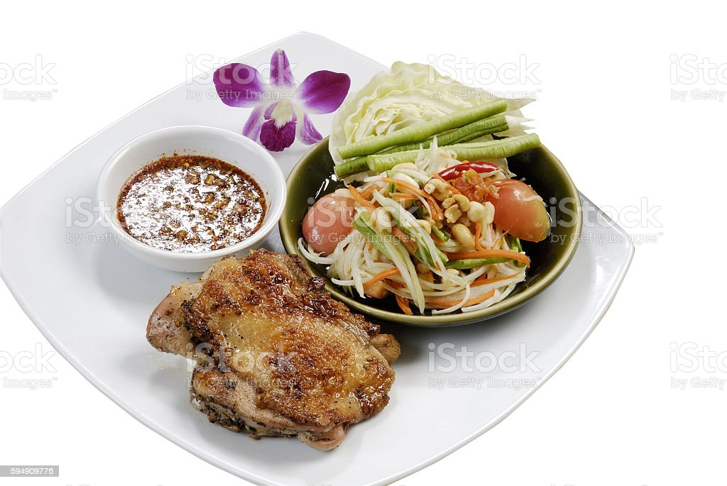 Grilled chicken and Som Tum stock photo