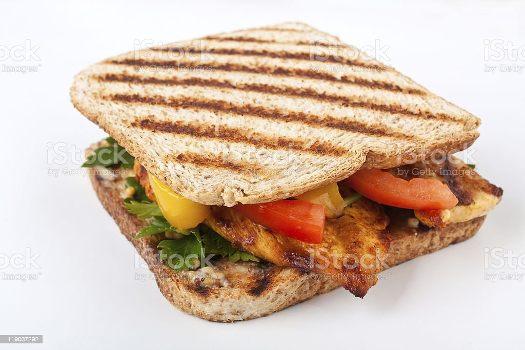 grilled chicken ( turkey ) and vegetables sandwich royalty-free stock photo