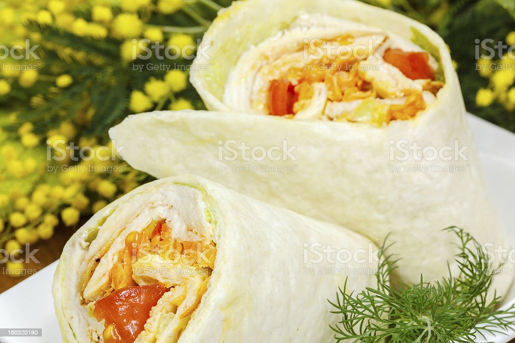 Grilled chicken and vegetables wrapped in tortilla.Shallow DoF stock photo