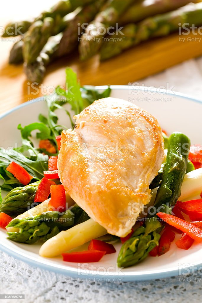 Grilled Chicken Breast and Aspargus royalty-free stock photo