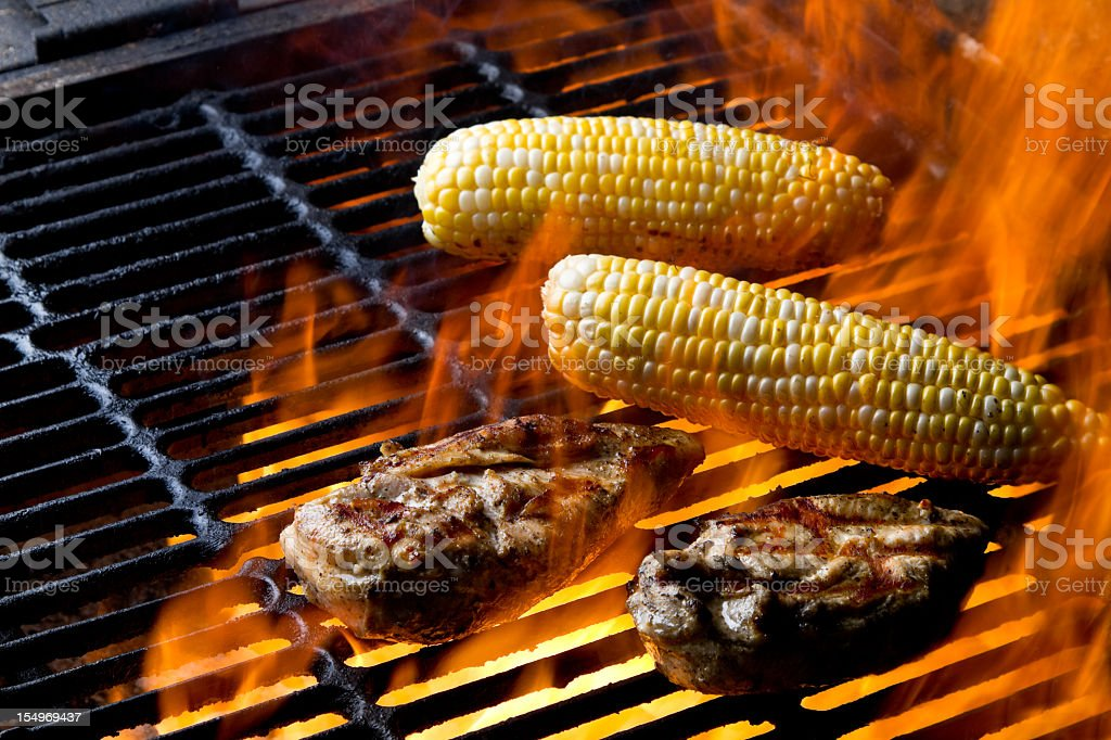 Grilled Chicken Breast and Corn on the Cob royalty-free stock photo