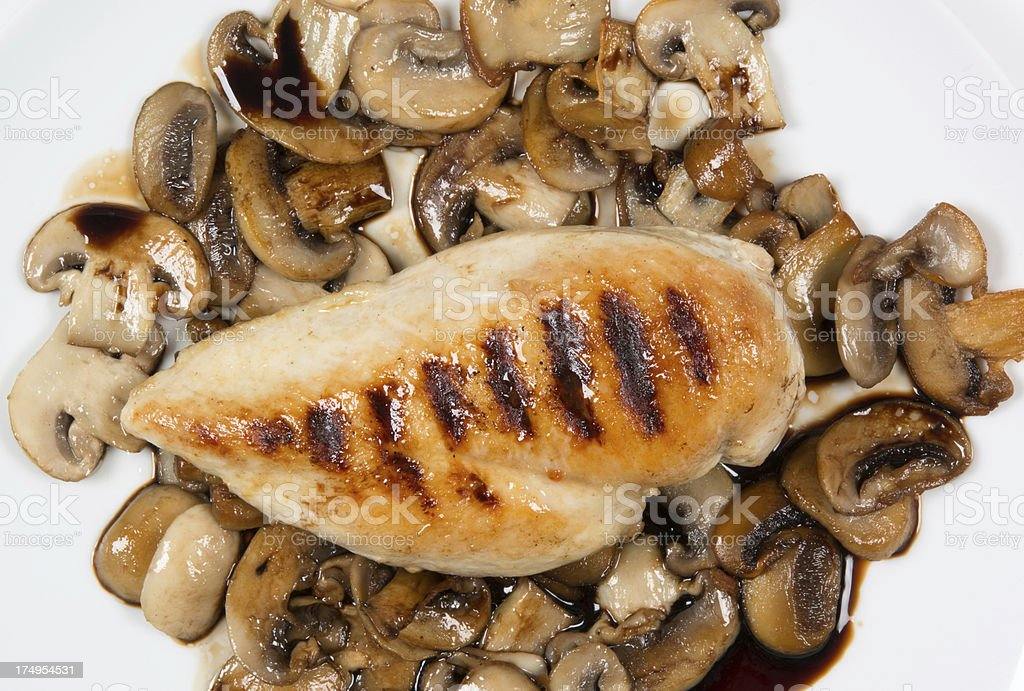 Grilled chicken breast and mushrooms royalty-free stock photo
