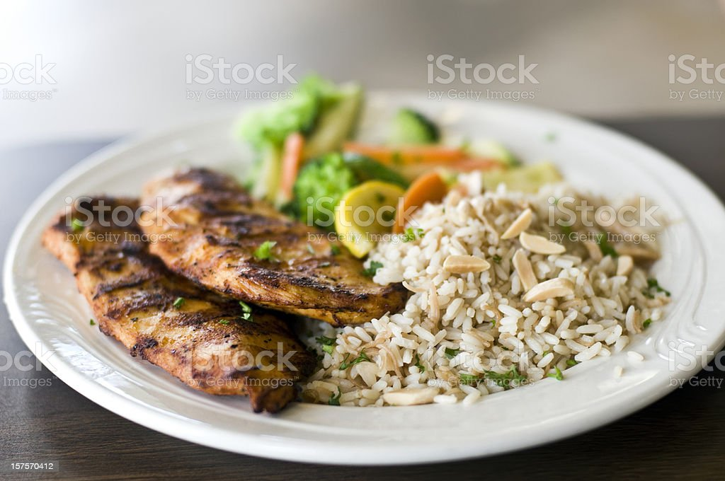 Grilled Chicken breast and rice stock photo