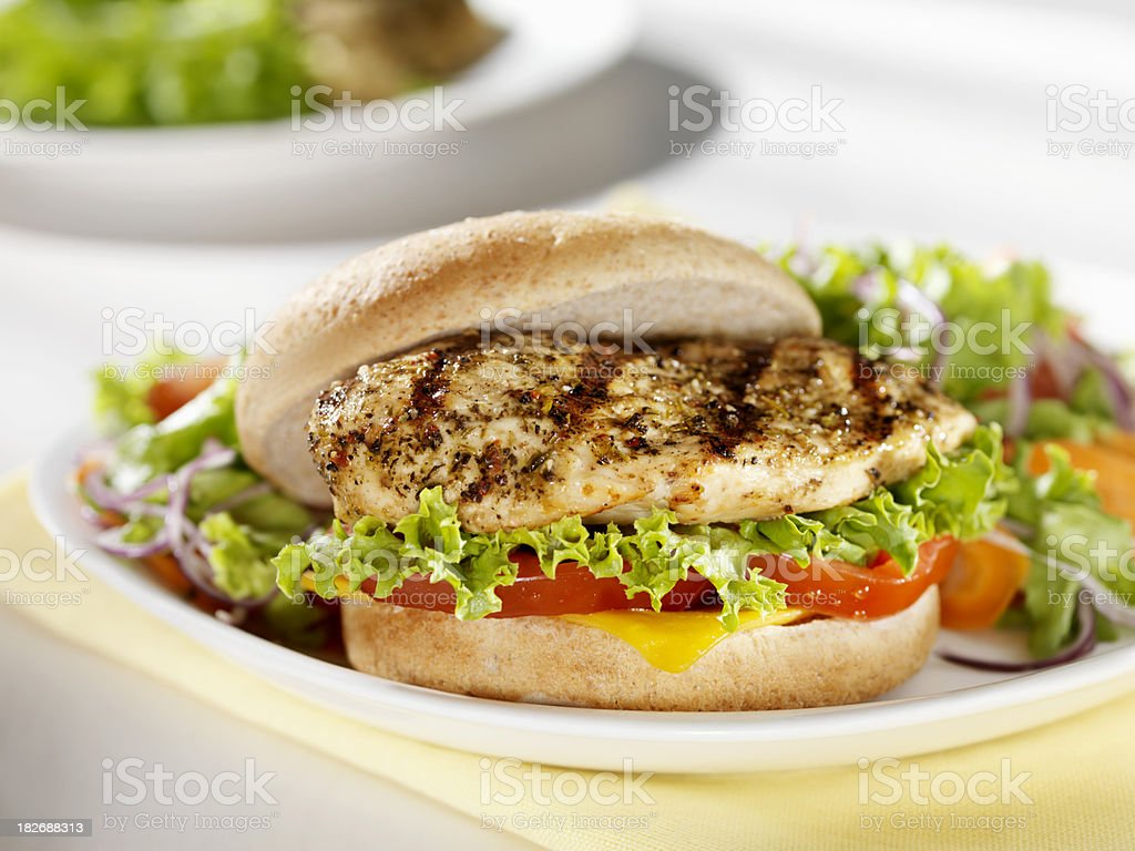 Grilled Chicken Breast Burger with a side Salad stock photo