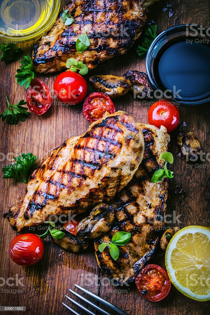 Grilled chicken breast in different variations. Traditional cuisine. Grill kitchen stock photo