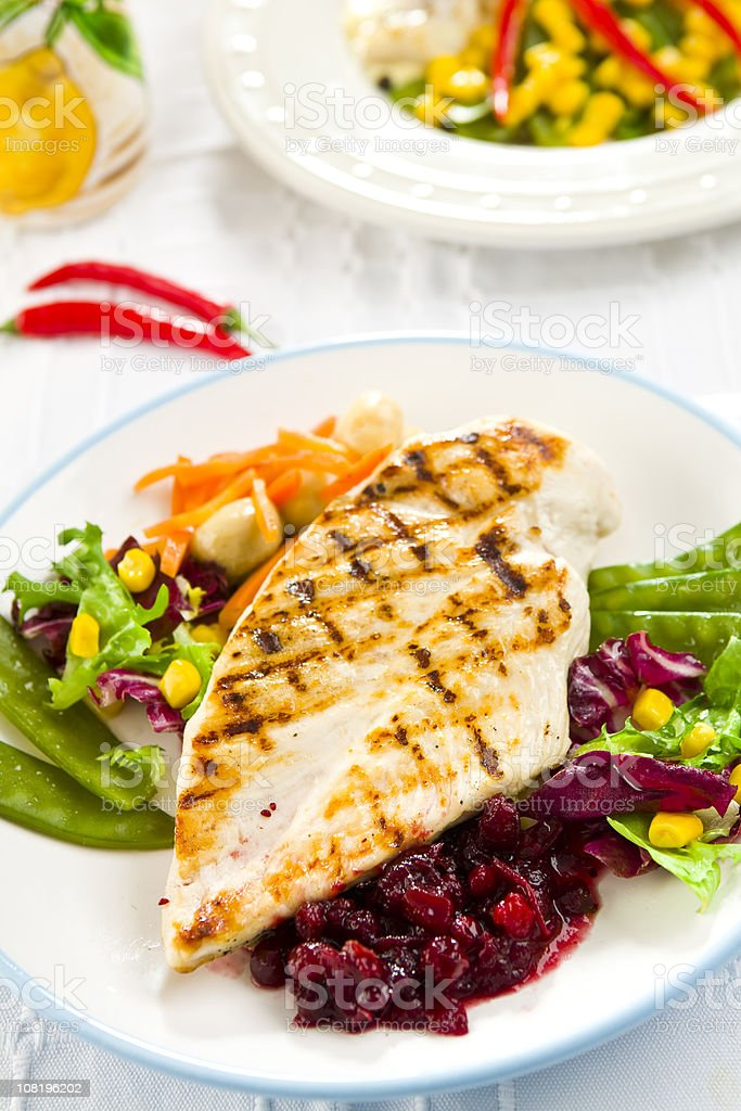 Grilled Chicken Breast on Plate royalty-free stock photo