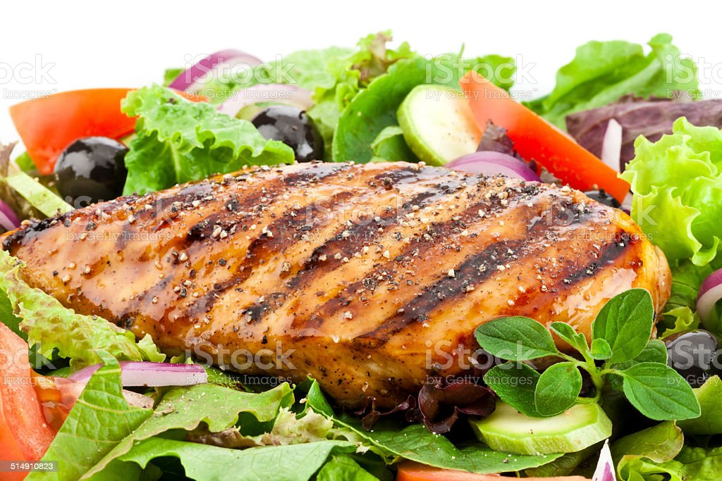 Grilled Chicken Breast Salad stock photo