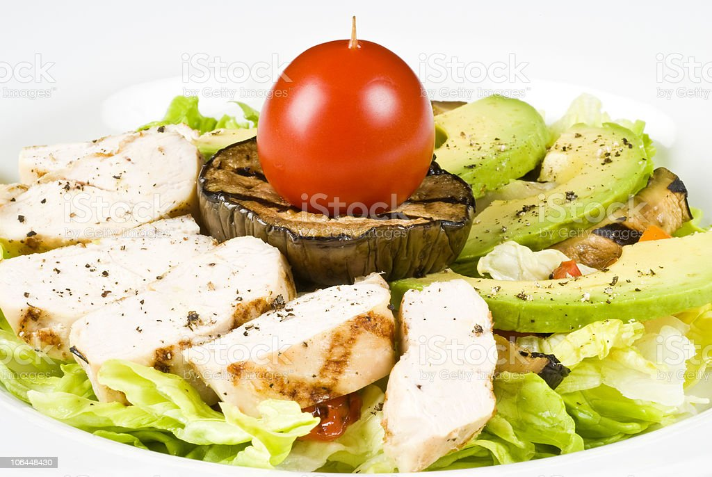 Grilled Chicken Breast Salad with Avocado royalty-free stock photo