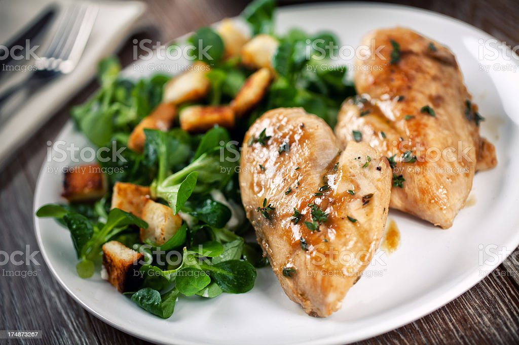 Grilled chicken breast with salad royalty-free stock photo