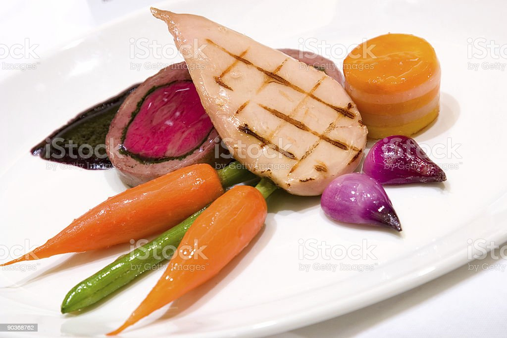 Grilled Chicken Breast with Veal Tenderloin Terrine royalty-free stock photo