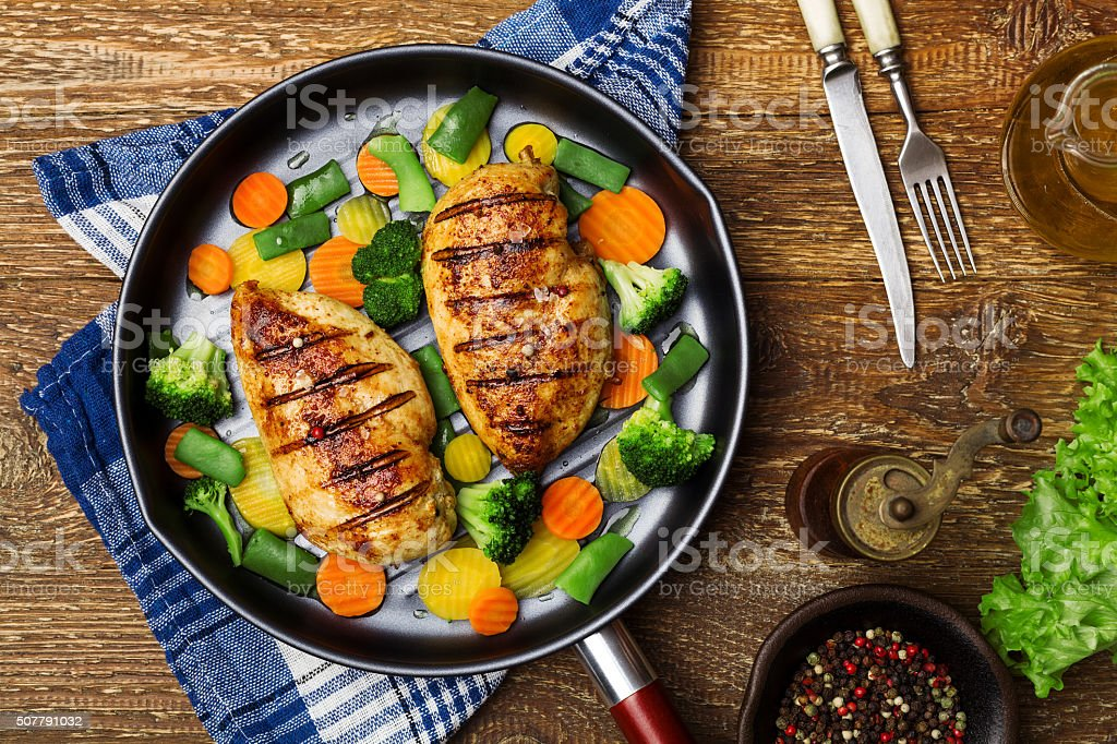 Grilled chicken breast with vegetables in a pan. stock photo