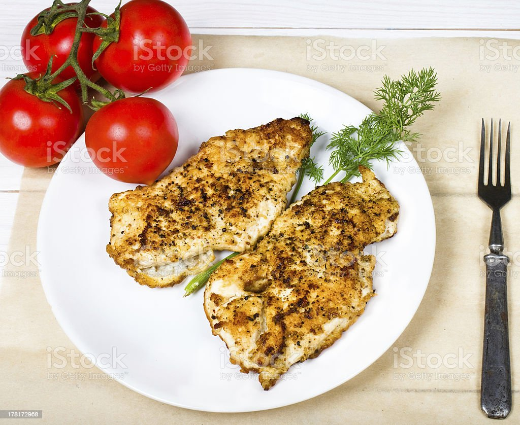 Grilled chicken breasts fillet with fresh vegetables royalty-free stock photo