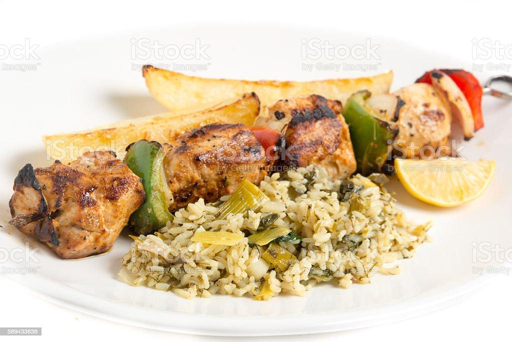 Grilled Chicken brochette stock photo