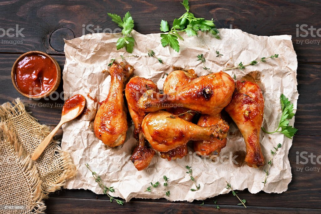 Grilled chicken drumstick stock photo